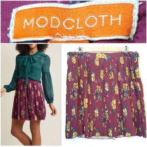 Modcloth Pleated Midi Floral Skirt